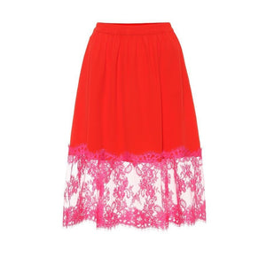 MSGM Lace-trimmed Skirt