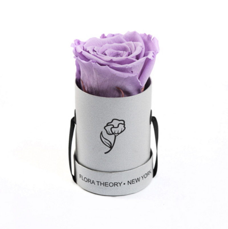 Preserved Roses Mini Silver Box – Magenta-Flowers-DREEMS