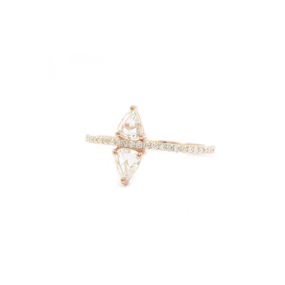 Ri Noor Double Shield and Baguette Diamond Ring-Rings-DREEMS