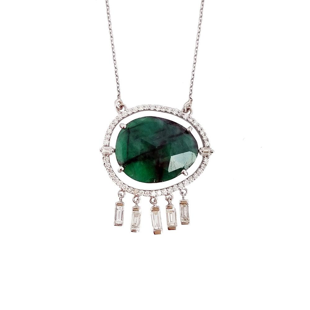 Ri Noor Emerald and Diamond Tassel Necklace-Necklaces-DREEMS
