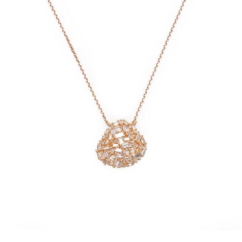 Ri Noor Organic Shape Baguette Diamond Necklace-Necklaces-DREEMS