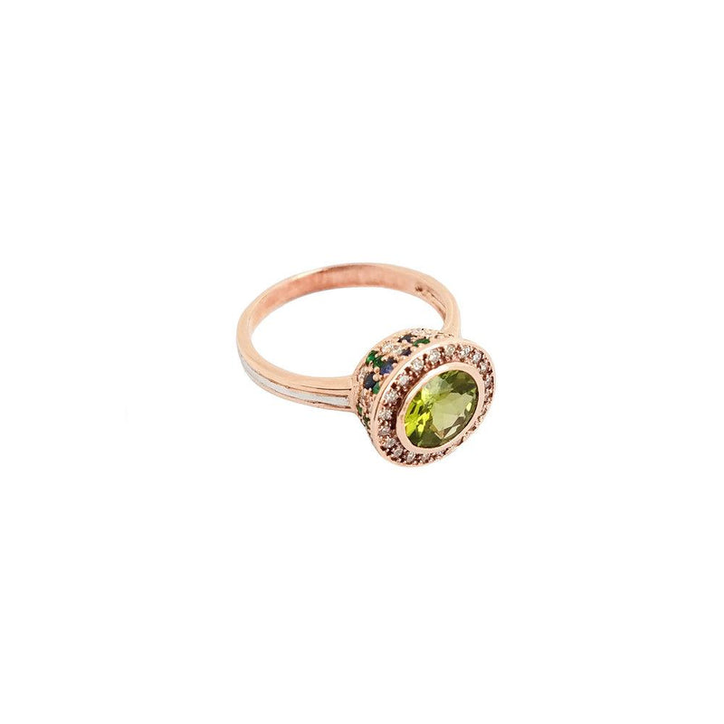 Ri Noor Peridot Sapphire Emerald and Diamond Ring-Rings-DREEMS