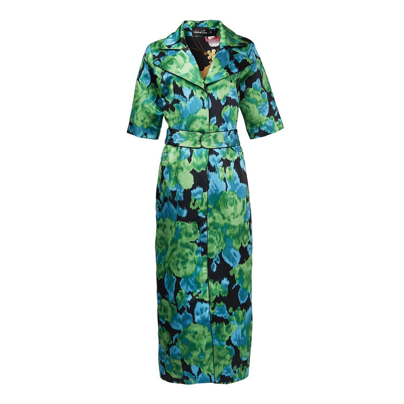 Richard Quinn Green Moire Shirt Dress-Dresses-DREEMS
