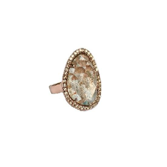 Shimmer by Cindy Rose Gold Abstract Halo Ring-Jewelry-DREEMS