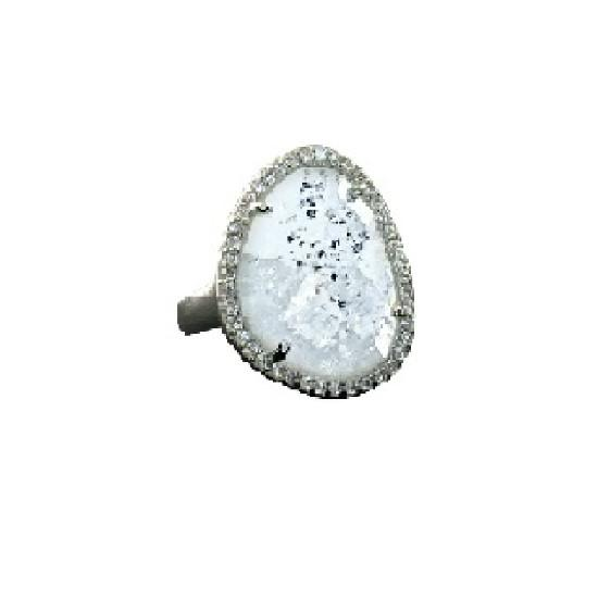 Shimmer by Cindy Silver Abstract Halo Ring-Jewelry-DREEMS