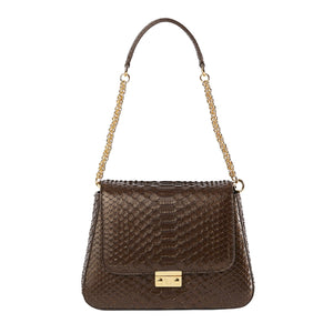THE COLLECTOR ASCIA Python Brown Shoulder Bag-Bags-DREEMS
