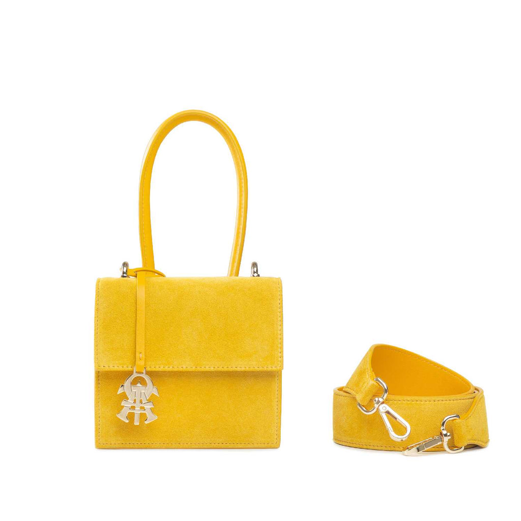 Alef Venus Yellow Suede Leather Handbag