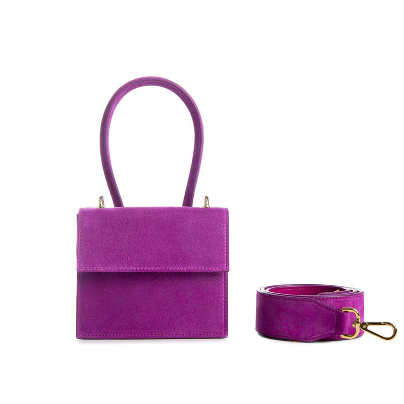 Alef Venus Verbena Purple Suede Leather Handbag