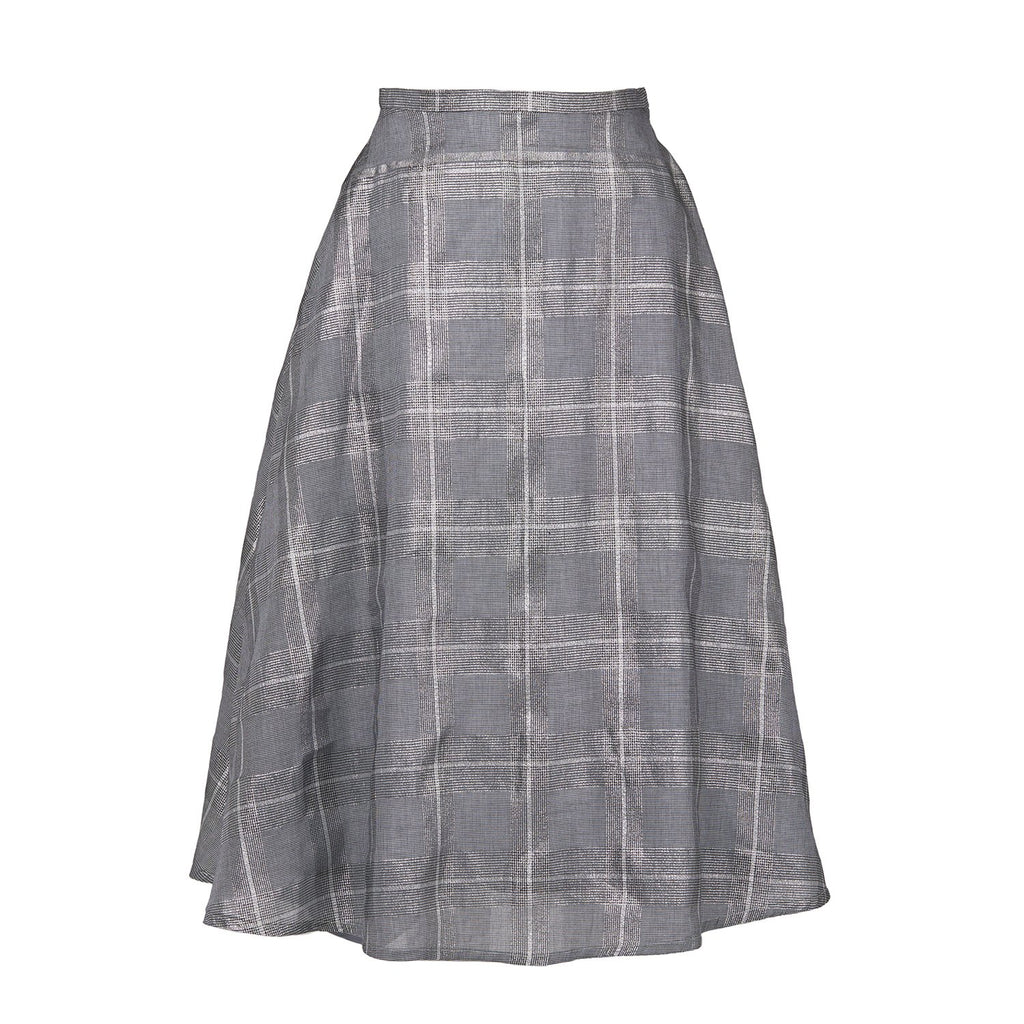 Yufash Checked Metallic A Line Skirt-Bottoms-DREEMS