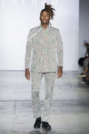 Yufash Floral Reflective Embroided Blazer-M-Jackets-DREEMS