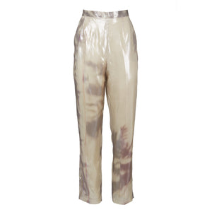 Yufash Liquid Metal Print Trousers-Bottoms-DREEMS