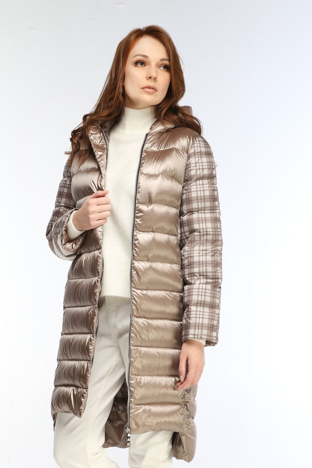 Zibroo Design Cappuccino Long Lined Down Jacket-Jackets-Zibroo-DREEMS