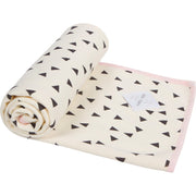 "Plush Single-Layer Baby Blanket with Pink Trim - Small, 30""x35"""