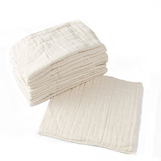 "Unbleached, Pre-Washed Premium Cotton Cloth Diapers - 12-Pack - 12""x12"""