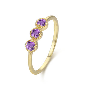Amethyst Past Present Future Trinity Ring