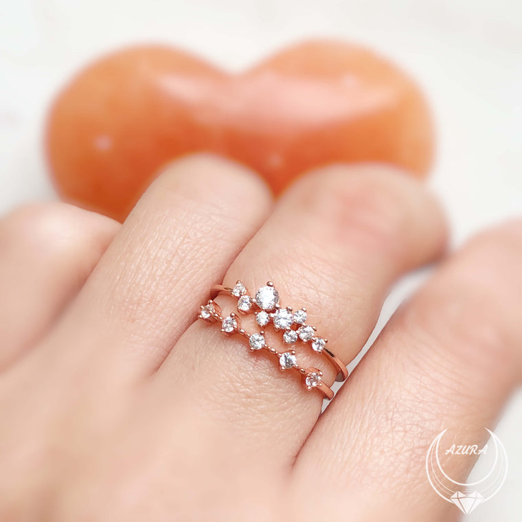 White Topaz Celestial Ring (Rose Gold)