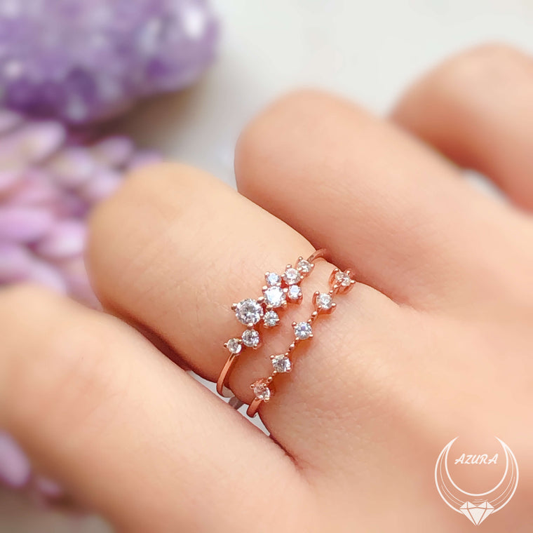Glitter Raindrop Ring (Rose Gold) & White Topaz Celestial Ring (Rose Gold)