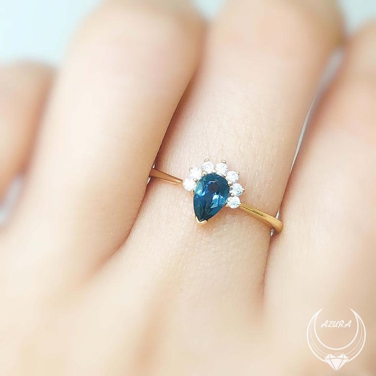 Invisible Crown London Blue Topaz Ring