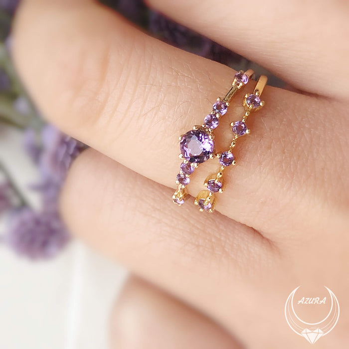 The Center of the Universe Amethyst Ring (Yellow Gold) & Amethyst Celestial Ring (Yellow Gold)
