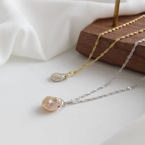 Barque Pearl Necklace (Yellow Gold)