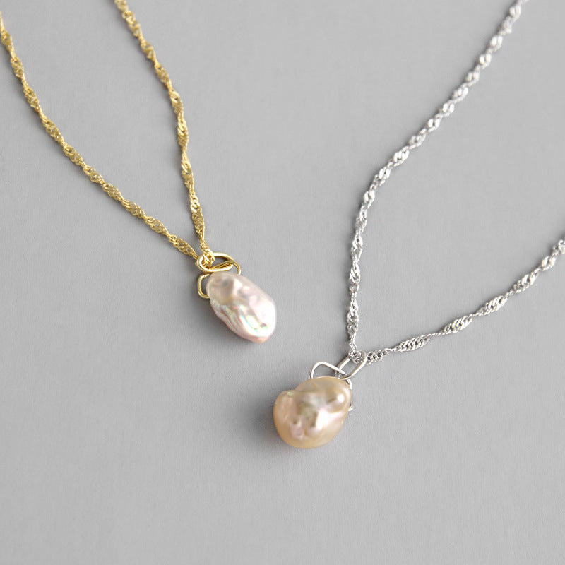 Baroque Pearl Necklace (White Gold)