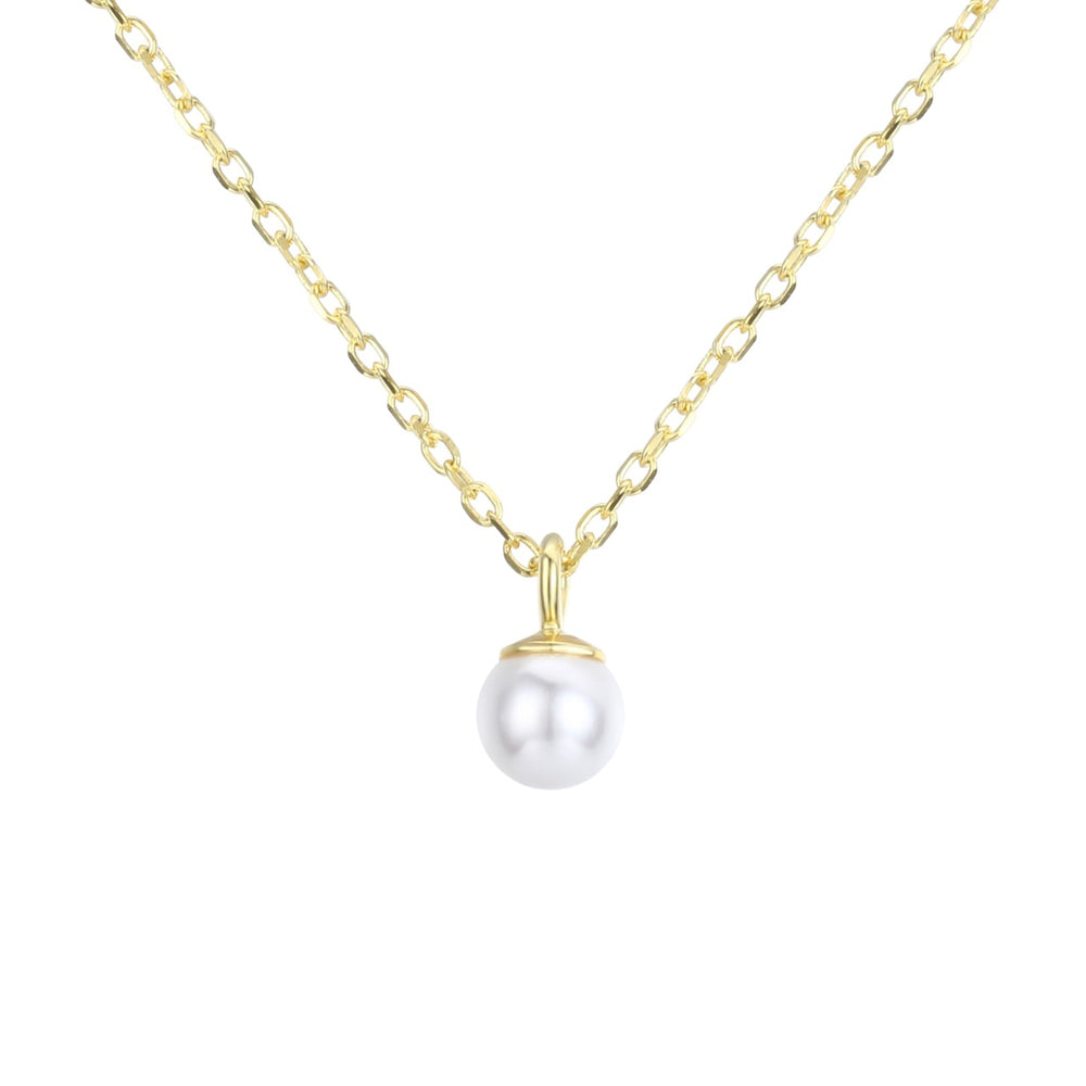 Mini Pearl Necklace (Yellow Gold)