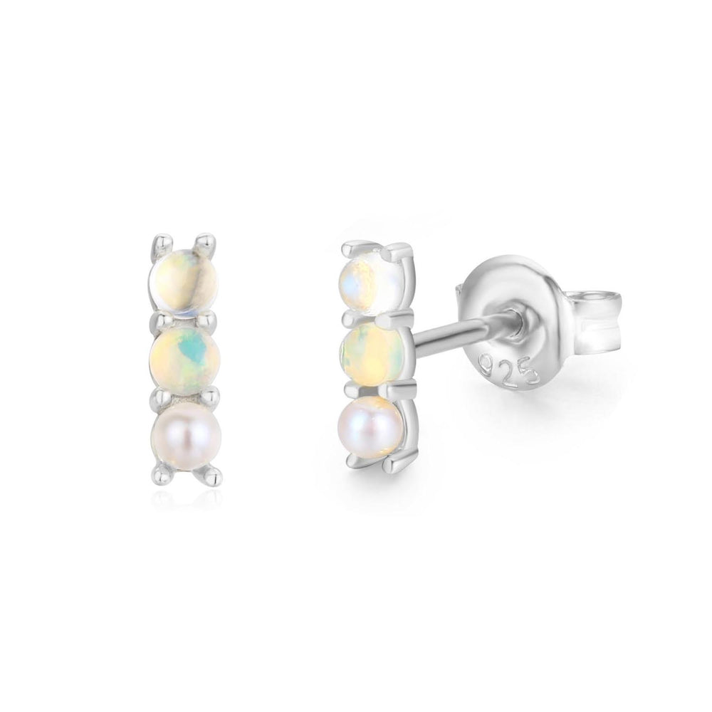 Load image into Gallery viewer, Moonstone Opal Pearl Infinity Bar Earrings (White Gold)