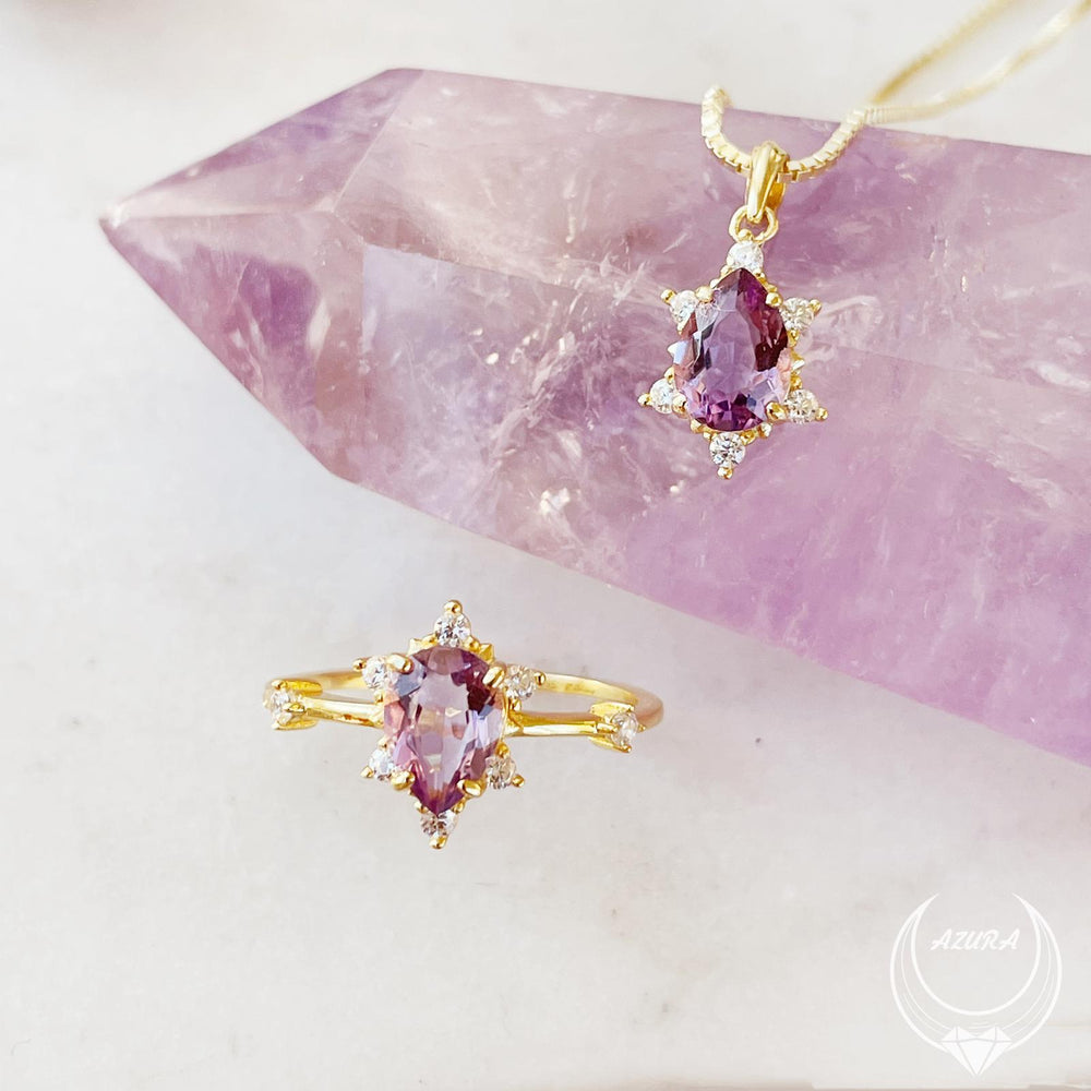 Gaia Amethyst Yellow Gold Necklace