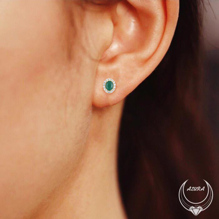 Load image into Gallery viewer, Manifestation Emerald Earring Studs