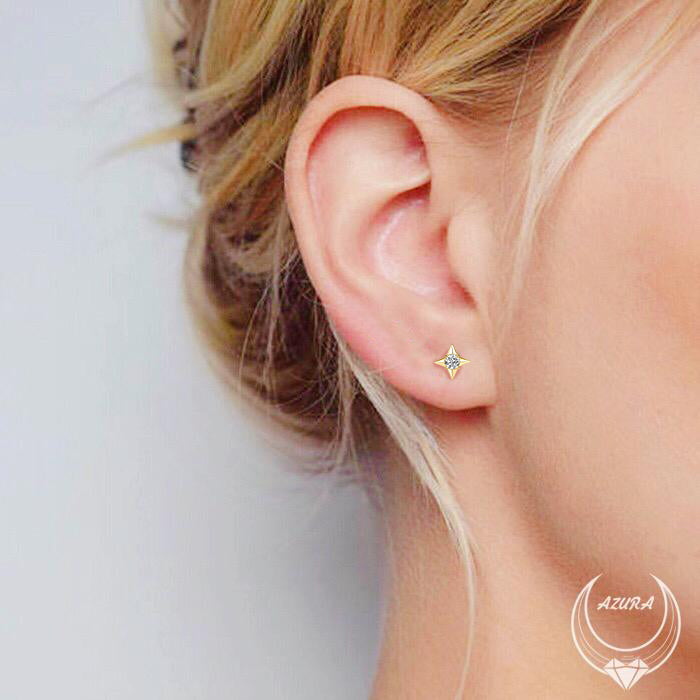 North Star Earrings (14K Solid Gold)