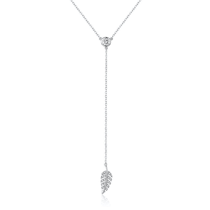 Lariat Leaf White Topaz Necklace (Silver)
