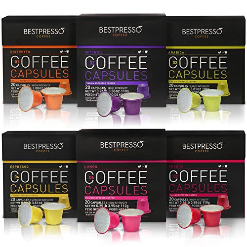 Nespresso Compatible Coffee Capsules 120 Pod Variety Pack