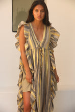 Soizec frill kaftan with gold stripes
