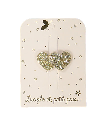 mini 2 hearts hair clip – gold