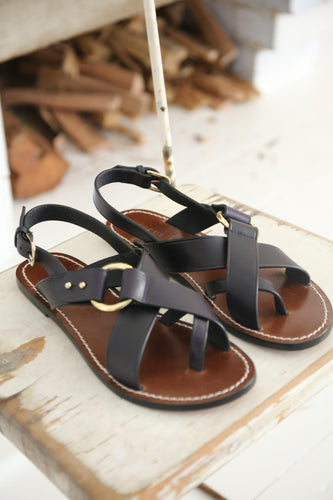Soeur - Florence navy  leather sandals