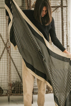 Black and cream stripes scarf
