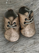 anniel - baby gold glitter lace up shoes