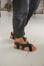 Fluffy cross over dark grey sandals