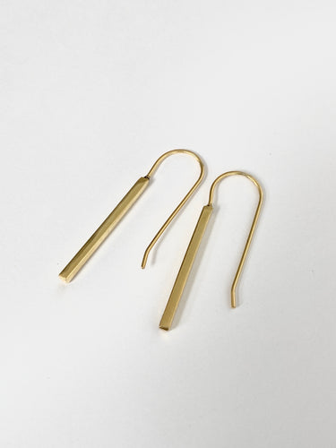 Plated gold long bars earrings