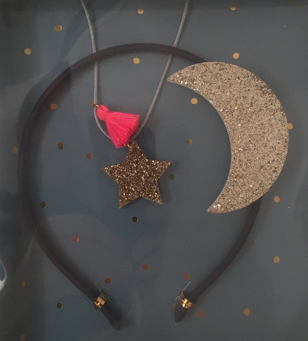 gift set - moon headband and glitter star necklace