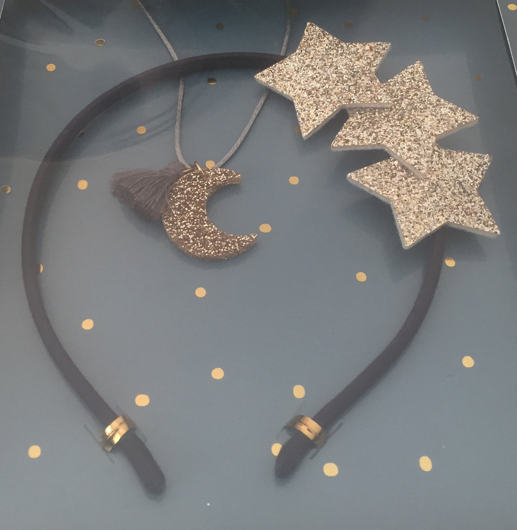 gift set - star headband and glitter moon necklace