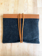 clutch bag - leather/linen