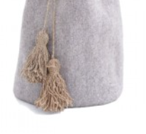 storage basket pompoms in grey
