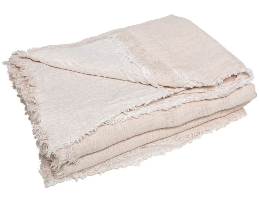 Maison de Vacances - Cream/Powder crumpled washed linen plaid
