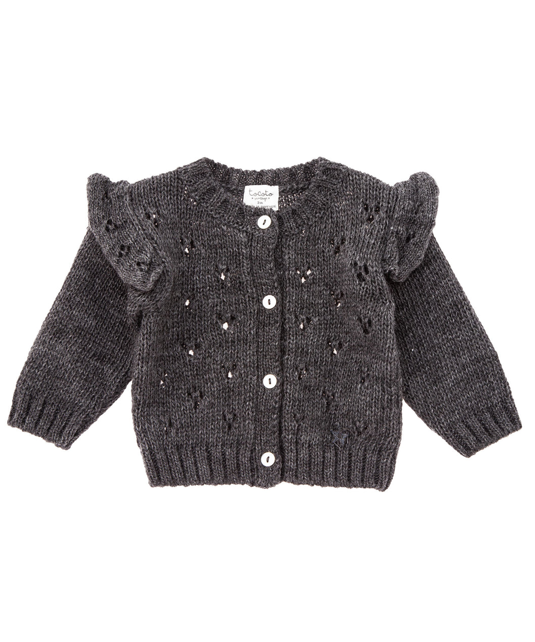 Tocoto Vintage - Openwork knitted grey cardigan