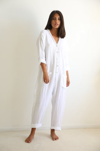 Linen white jumpsuit