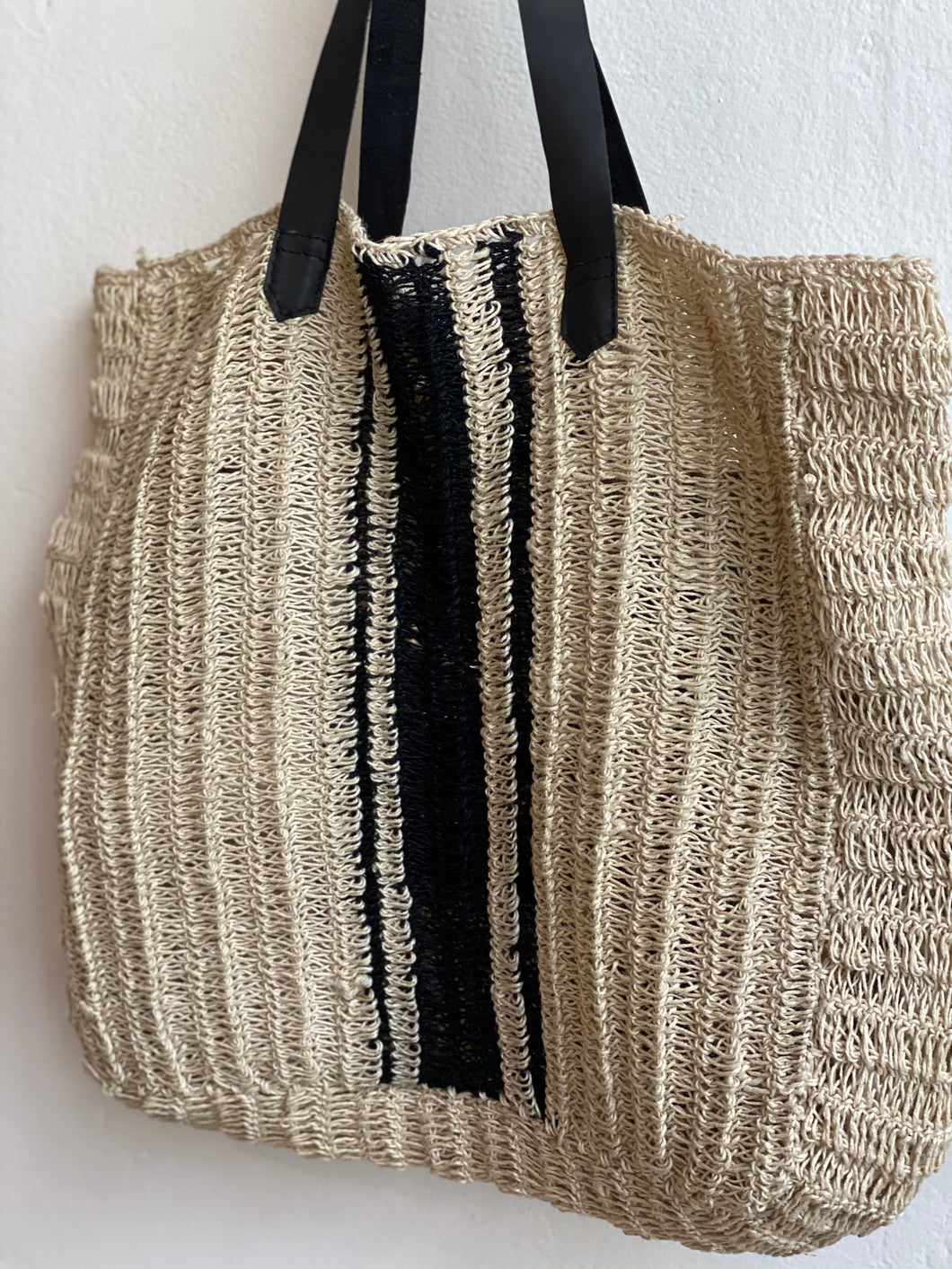 natural/black stripe tote bag