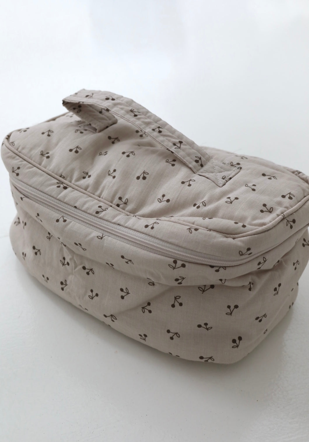 Mon bebe cherry quilted toiletry bag