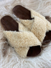 cream fur crossover style sandal