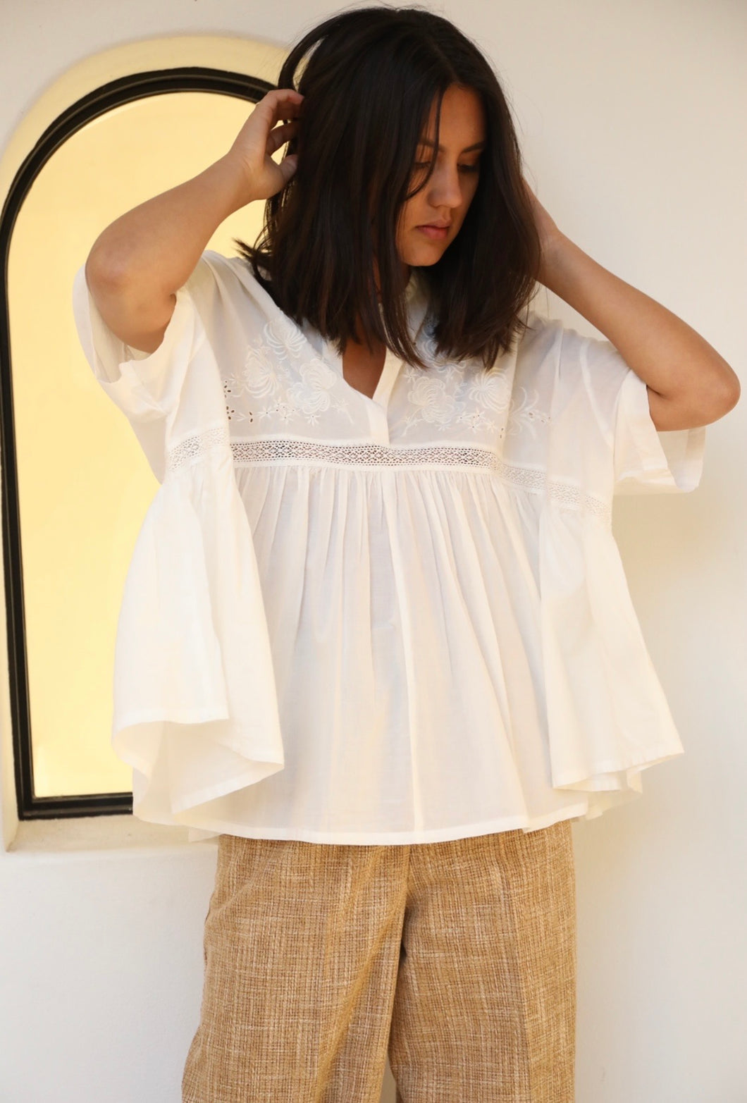cotton white broderie blouse